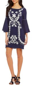 M.S.S.P. short dress navy Mssp Bell Sleeve Embroidered Shift Embroidered on Tradesy