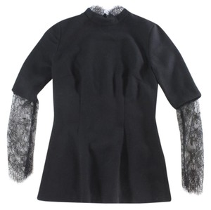 Other Eyelash Lace High Neck Peplum Long Sleeve Top black