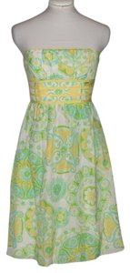 Lilly Pulitzer short dress Green Cotton Strapless Floral Monogram on Tradesy