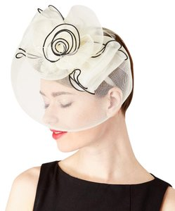 Other Cream & Black Floral-Accent Veil Fascinator Headband
