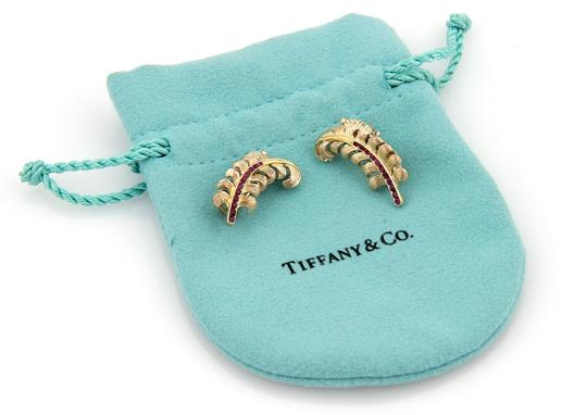 Tiffany & Co. Vintage 14K Yellow Gold Ruby Long Leaf Clip On Earrings w/Pouch Image 4