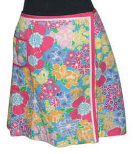 Lilly Pulitzer Floral Wrap Egyptian Skirt Multi-color