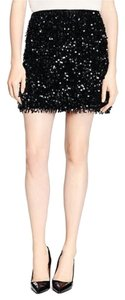 Kate Spade Fringed Sequin Night Out Fringe Mini Skirt Black
