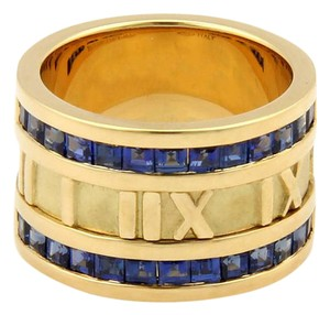 Tiffany & Co. ATLAS 1.75ct Sapphires 18K Yellow Gold 12mm Numerical Band Ring-Size 5