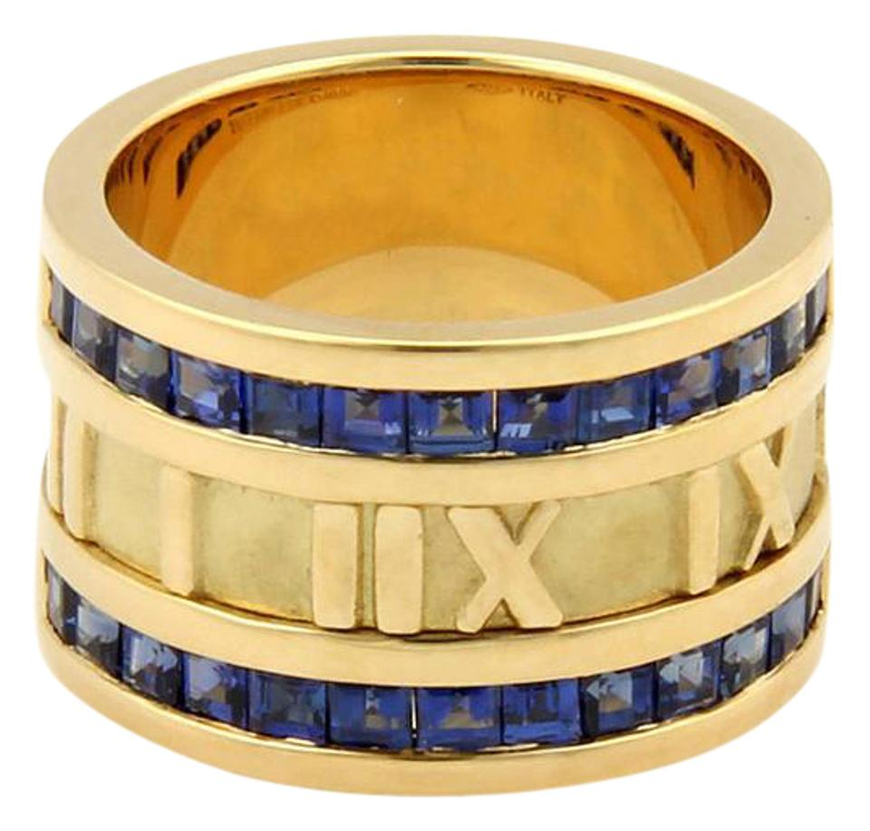 3b3ffdde9 Tiffany & Co. ATLAS 1.75ct Sapphire 18K YGold 12mm Numerical Band Ring-Size  ...