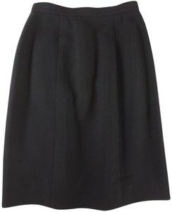 Chanel Textured Wool Pencil Skirt Black