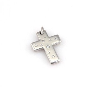 Tiffany & Co. Etoile Diamond 18K White Gold Cross Pendant w/ Box