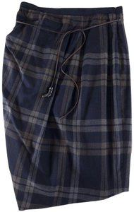 Gunex/Brunello Cucinelli Brunello Cucinelli Ruched Pleated Plaid Skirt Blue / Tan
