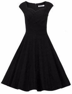 Black Women's 1950s Retro Vintage Cap Sleeve Party Swing Dress Dress