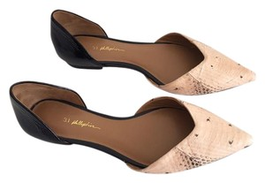3.1 Phillip Lim pink python effect and black Flats