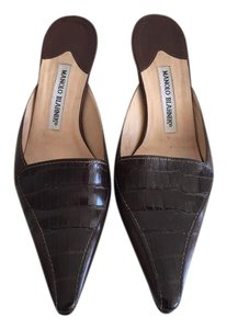 Manolo Blahnik dark brown Mules