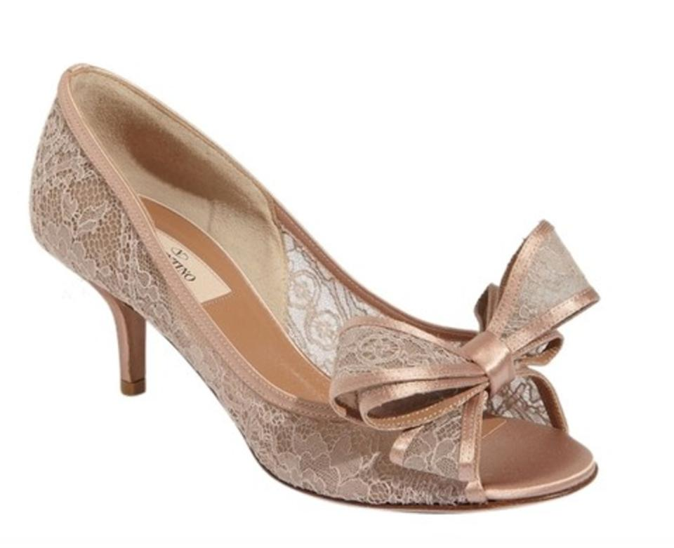 3568d0306c3 Valentino Blush Couture Kitten Heel Bow Lace For Weddings ) Pumps ...
