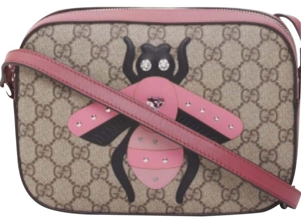 eba18c56f26 Gucci Bee Gg Supreme Beige Pink Canvas Shoulder Bag - Tradesy