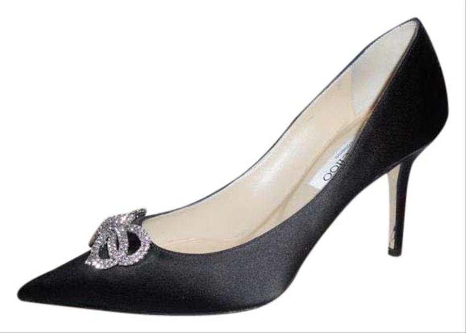 68bbfdafc172 Jimmy Choo Black Samba Satin Jewel Crystal Embellished Bow Heels ...