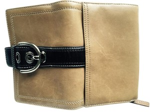 Coach Wristlet in Saddle and Dark Brown