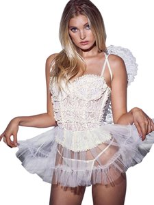 Victoria's Secret Sexy Little Angel Corset Thong Wings Bridal White 34