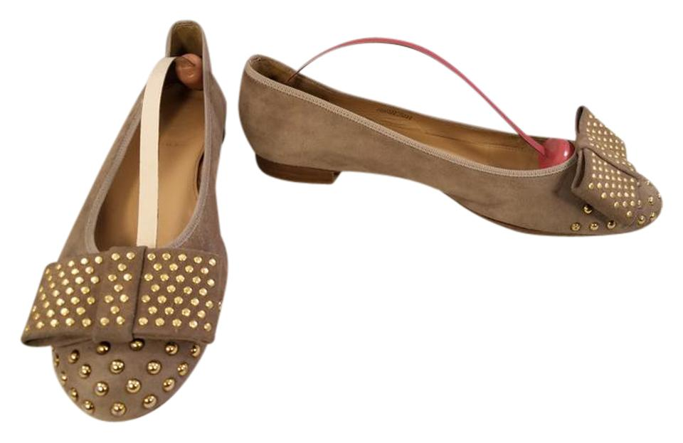 J.Crew Beige Ballet Gold Studs Italy Bowtie Suede Made In Italy Studs Flats 7992e2