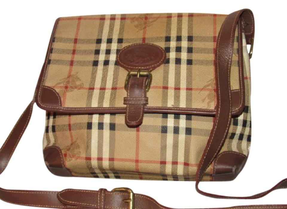 Burberry Vintage Purses/Designer Purses British Tan Leather/Haymarket Nova  Check with Knights Plaid Coated Canvas Leather/ Cross Body Bag