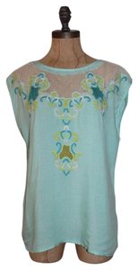 Anthropologie Floral Summer Beaded Willow & Clay Rayon Top BLUE