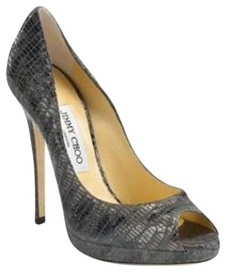 Jimmy Choo Platform Patent Leather Open Toe Quaker Buckled Anthracite (grey) Pumps