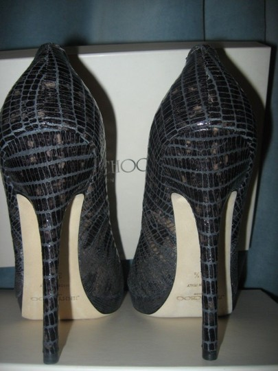 Jimmy Choo Platform Patent Leather Open Toe Quaker Buckled Anthracite (grey) Pumps Image 1