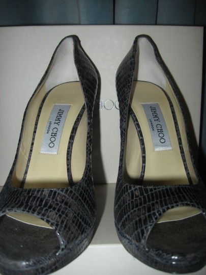 Jimmy Choo Platform Patent Leather Open Toe Quaker Buckled Anthracite (grey) Pumps Image 2
