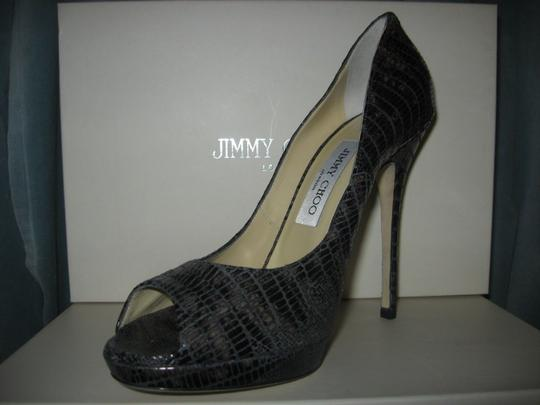 Jimmy Choo Platform Patent Leather Open Toe Quaker Buckled Anthracite (grey) Pumps Image 5