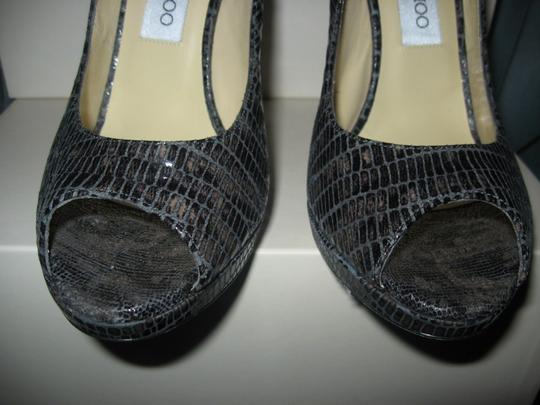 Jimmy Choo Platform Patent Leather Open Toe Quaker Buckled Anthracite (grey) Pumps Image 6