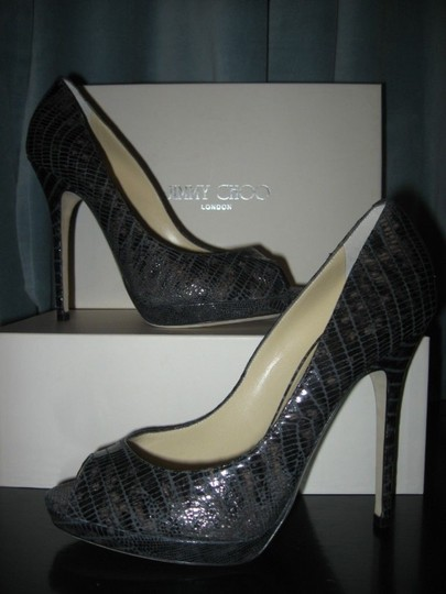 Jimmy Choo Platform Patent Leather Open Toe Quaker Buckled Anthracite (grey) Pumps Image 7