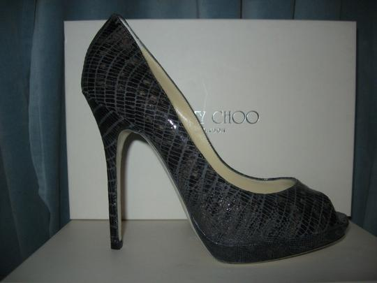 Jimmy Choo Platform Patent Leather Open Toe Quaker Buckled Anthracite (grey) Pumps Image 8