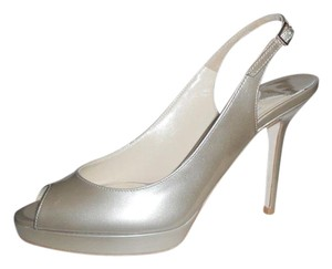 Jimmy Choo Platform Pumps Peep Toe Slingback Nova Light Khaki Sandals