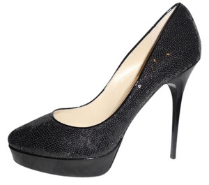 Jimmy Choo Platform Heels Cosmic Sequin Black Pumps