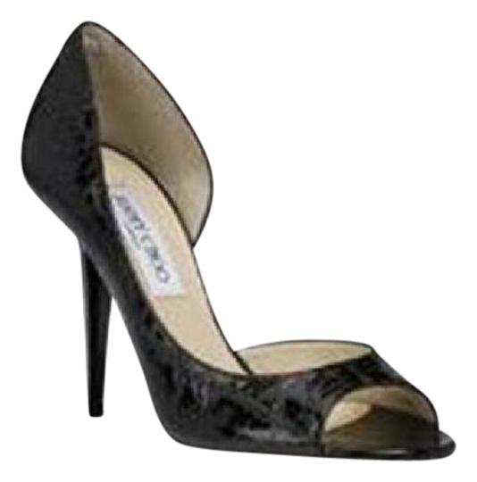 Jimmy Choo Open Toe Pumps Foil Print Suede Gino Black/Silver Sandals Image 0