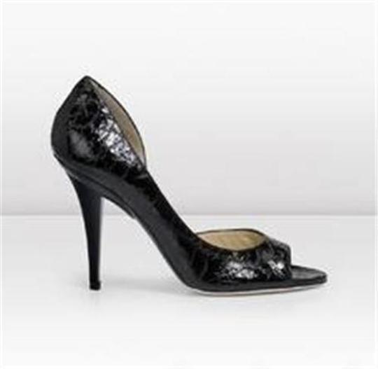 Jimmy Choo Open Toe Pumps Foil Print Suede Gino Black/Silver Sandals Image 7