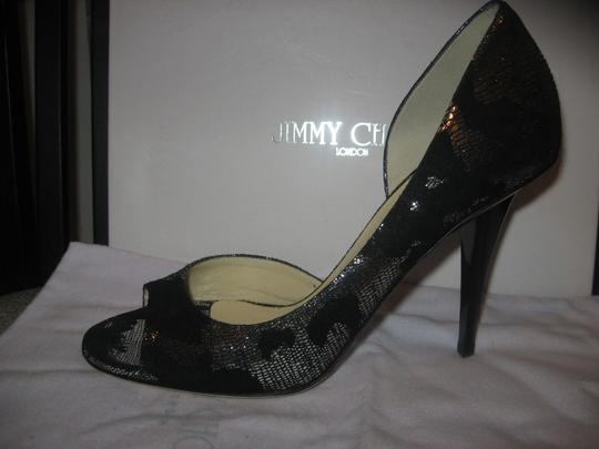 Jimmy Choo Open Toe Pumps Foil Print Suede Gino Black/Silver Sandals Image 8