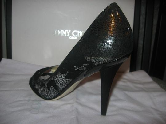 Jimmy Choo Open Toe Pumps Foil Print Suede Gino Black/Silver Sandals Image 9
