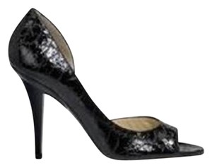Jimmy Choo Open Toe Pumps Foil Print Suede Gino Black/Silver Sandals