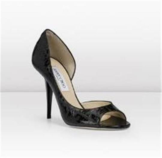 Jimmy Choo Open Toe Pumps Foil Print Suede Gino Black/Silver Sandals Image 1