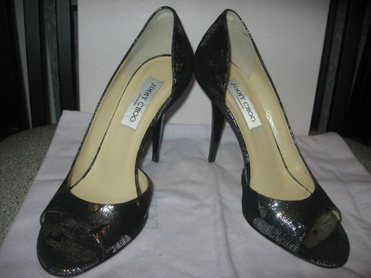 Jimmy Choo Open Toe Pumps Foil Print Suede Gino Black/Silver Sandals Image 6
