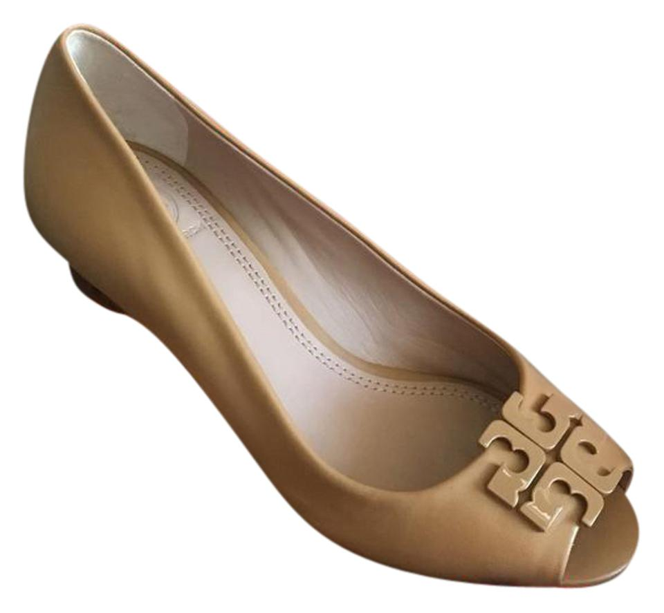 d2b7c5d1a346 Tory Burch Blond Tan Lowell Peep Toe Wedges Size US 5.5 Regular (M ...