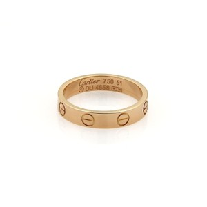 Cartier Mini Love 18k Rose Gold 3.5mm Ring Band Size EU 51-US 5.5