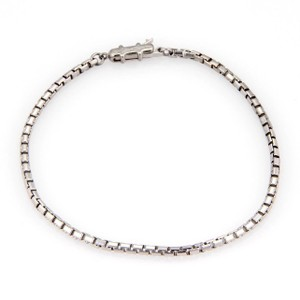 Cartier 18k White Gold Gold 2mm Box Link Chain Bracelet - 6.5