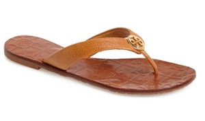 Tory Burch Logo Leather Caramel Sandals