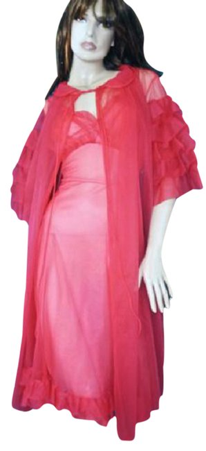 Preload https://img-static.tradesy.com/item/21074673/hot-pink-1950-s-sheer-peignoir-and-gown-ruffled-sleeve-hot-s-mid-length-night-out-dress-size-4-s-0-1-650-650.jpg