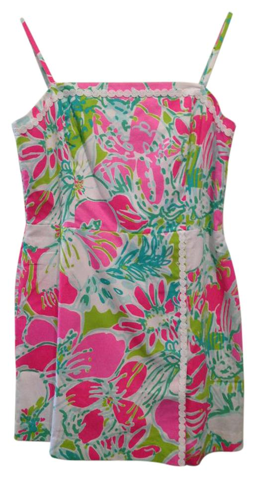 ee791cbc082 Lilly Pulitzer Pink Green White Sleeveless Mid-length Short Casual ...