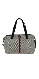 Tory Burch Black White & Red Blue Checkered Leather Hobo Bag