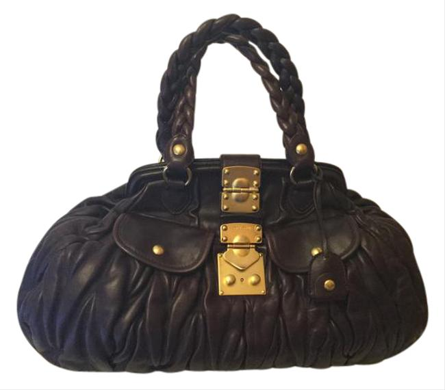 Item - Nappa Matelasse Coffer Frame Tote Brown Lambskin Leather Satchel