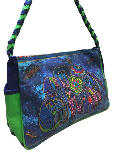 Preload https://img-static.tradesy.com/item/21075028/laurel-burch-blues-and-multiple-cotton-shoulder-bag-0-1-540-540.jpg