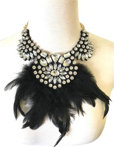 Other Black Jeweled Feather Statement Necklace