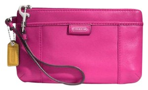 Coach Daisy New Leather Leather Wristlet in Bright Magenta/SV
